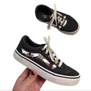 Girl's VANS Old Skool Black Floral Sneakers